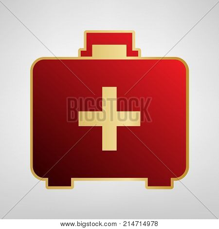 Medical First aid box sign. Vector. Red icon on gold sticker at light gray background.