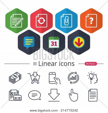 Calendar, Speech bubble and Download signs. File refresh icons. Question help and pencil edit symbols. Paper clip attach sign. Chat, Report graph line icons. More linear signs. Editable stroke. Vector