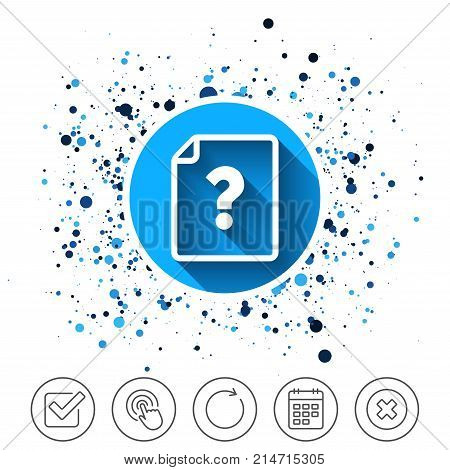 Button on circles background. File document help icon. Question mark symbol. Calendar line icon. And more line signs. Random circles. Editable stroke. Vector