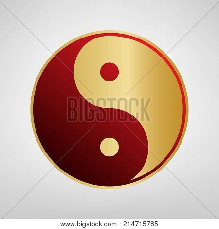 Ying yang symbol of harmony and balance. Vector. Red icon on gold sticker at light gray background.
