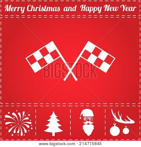 Finish Icon Vector. And bonus symbol for New Year - Santa Claus, Christmas Tree, Firework, Balls on deer antlers