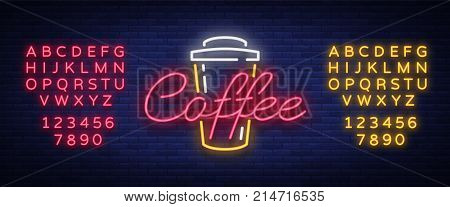 Coffee neon sign logo vector illustration, emblem in neon style, bright night sign, night advertisement of coffee. Editing text neon sign. Neon alphabet.