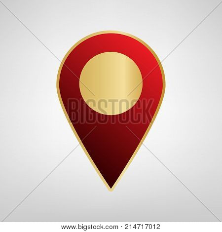 Mark pointer sign. Vector. Red icon on gold sticker at light gray background.