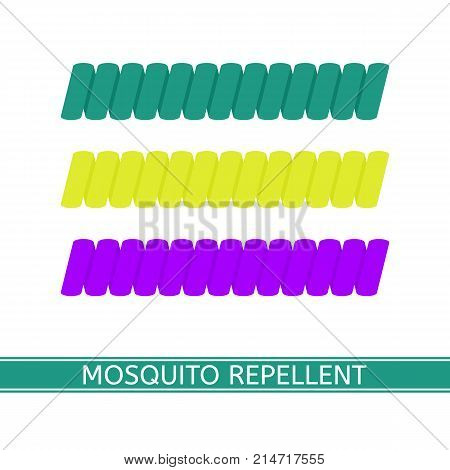 Vector illustration of mosquito repellent bracelets isolated on white background in flat style. Outdoors protection repelling flying insects.