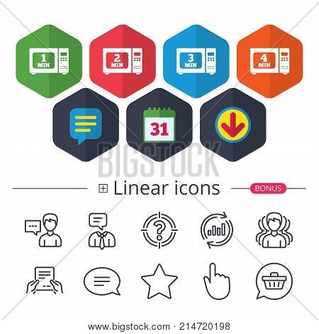 Calendar, Speech bubble and Download signs. Microwave oven icons. Cook in electric stove symbols. Heat 1, 2, 3 and 4 minutes signs. Chat, Report graph line icons. More linear signs. Editable stroke