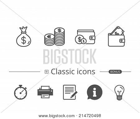 Money bag, Cash and Wallet line icons. Currency and Coins signs. Banking, Euro and Dollar symbols. Information speech bubble sign. And more signs. Editable stroke. Vector