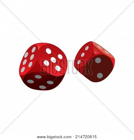 Red dice on white background. Casino dice. Vector stock.