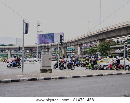 Victory monument,Bangkok,Thailand 08 Nov 2017 : Traffic at victory monument. Victory monument build to commemorate the military and victory in Franco - Thai war (1940-1941)