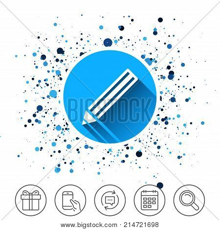 Button on circles background. Pencil sign icon. Edit content button. Calendar line icon. And more line signs. Random circles. Editable stroke. Vector