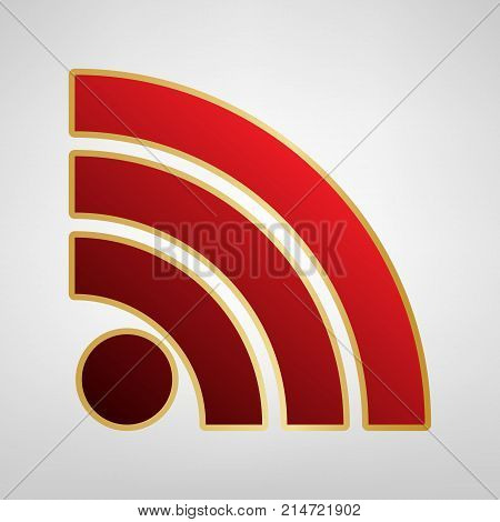 RSS sign illustration. Vector. Red icon on gold sticker at light gray background.