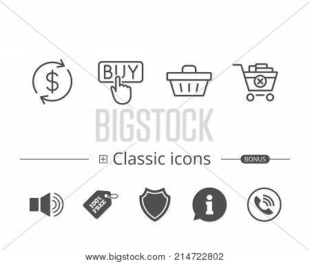 Shopping cart, Buy button and Sale icons. Update currency symbol. Online buying. Information speech bubble sign. And more signs. Editable stroke. Vector