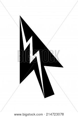 Lightning cursor arrow vector icon. Zigzag as icon. Simple illustration of arrow with lightning. Vector symbol icon for web or print design.