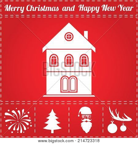 House Icon Vector. And bonus symbol for New Year - Santa Claus, Christmas Tree, Firework, Balls on deer antlers
