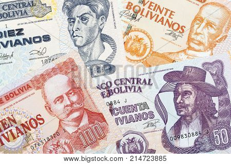 Old Bolivian money, a background with Bolivianos