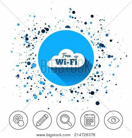 Button on circles background. Free wifi sign. Wifi symbol. Wireless Network icon. Wifi zone. Calendar line icon. And more line signs. Random circles. Editable stroke. Vector