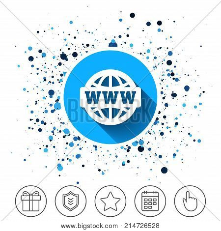 Button on circles background. WWW sign icon. World wide web symbol. Globe. Calendar line icon. And more line signs. Random circles. Editable stroke. Vector