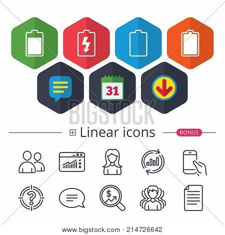 Calendar, Speech bubble and Download signs. Battery charging icons. Electricity signs symbols. Charge levels: full, empty. Chat, Report graph line icons. More linear signs. Editable stroke. Vector