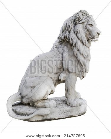 Portrait of a noble and regal male lion stone statue isolated on a white background