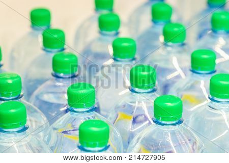 bottles with the distilled water