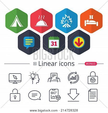 Calendar, Speech bubble and Download signs. Hot food, sleep, camping tent and fire icons. Hotel or bed and breakfast. Road signs. Chat, Report graph line icons. More linear signs. Editable stroke
