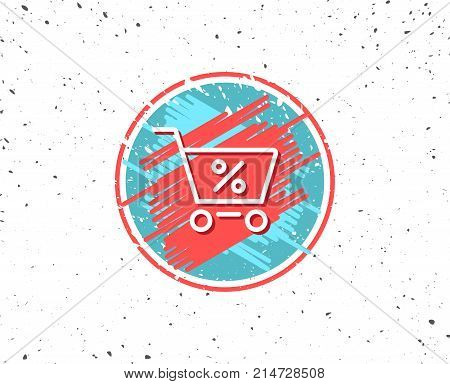Grunge button with symbol. Shopping cart with Percentage line icon. Online buying sign. Supermarket basket symbol. Random background. Vector