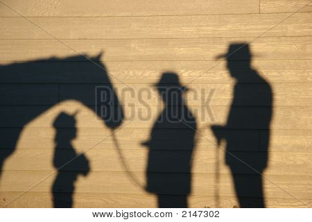 Horse Shadow With Little Girl