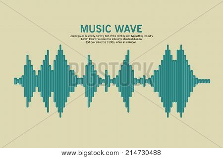 Vector Sound Waveform. Sound wave and musical pulse. Turquoise music player icon. Audio Logo Sign. Vector equalizer element.