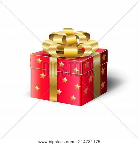 Gift Box for Christmas and New Year Winter Holiday Present, beautiful red gift box with satin ribbon isolated on white background, vector decorative illustration.