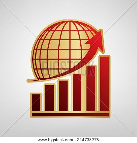 Growing graph with earth. Vector. Red icon on gold sticker at light gray background.