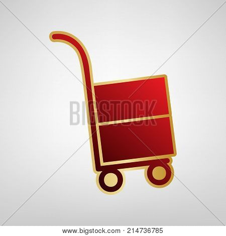 Hand truck sign. Vector. Red icon on gold sticker at light gray background.
