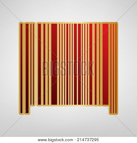 Bar code sign. Vector. Red icon on gold sticker at light gray background.