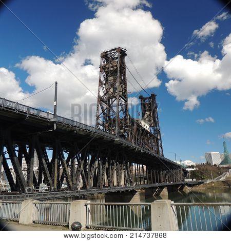 Lift bridge on the Willamette River at Portland Oregon usa