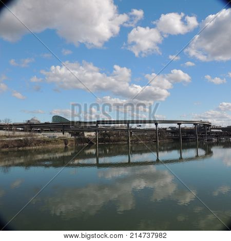 Freeway overpass over the Willamette River at Portland Oregon usa