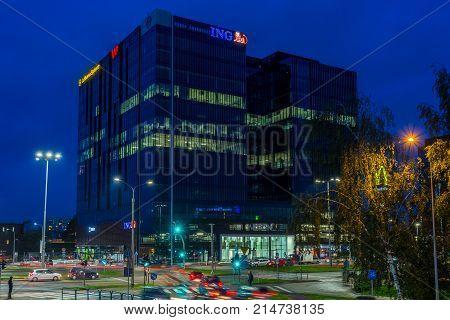 GDANSK POLAND - October 11 2017: Modern buildings architecture of Alchemia in Gdansk Poland. Alchemia is a modern multifunctional busienss complex in Gdansk.