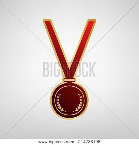 Medal simple sign. Vector. Red icon on gold sticker at light gray background.