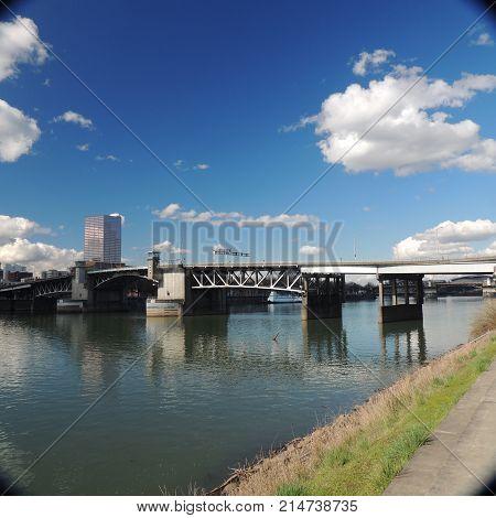 draw bridge across Willamette River at Portland Oregon usa