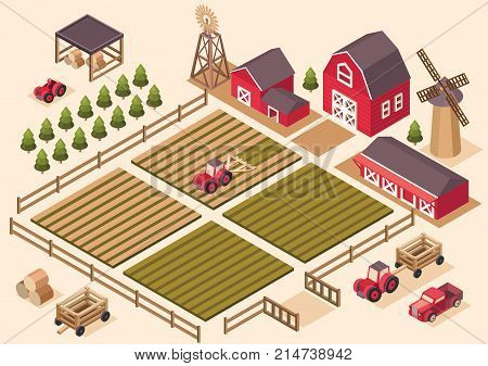 Vector isometric farm elements house, tractor, pickup, harvesting machine, windmill, hay, field, harvest, cart, spruce Agricultural and farming landscape Illustration agriculture and farm business
