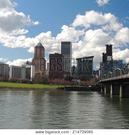 View of downtown Portland, OR across the Willamette River