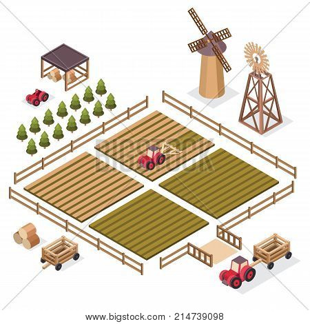 Vector isometric illustration of a harvest. Isometric farm elements tractor, harvesting machine, windmill, hay, field, harvest, cart, spruce. Agricultural and farming landscape