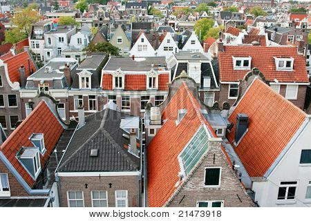 Typical dutch canal houses in the city of Amsterdam (Western part), Holland
