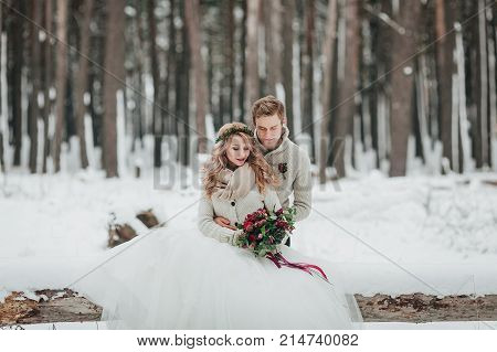 Bride and groom are sitting on the log in the winter forest. Close-up. Winter wedding ceremony. Artwork