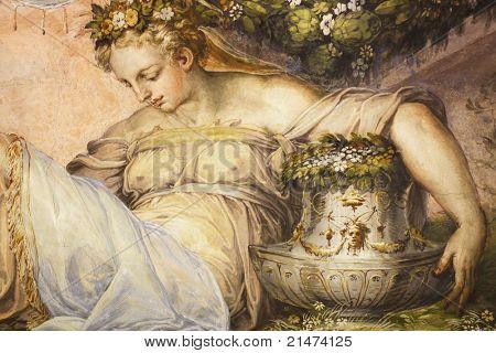 漂亮的女人从佛罗伦萨旧宫旧壁画