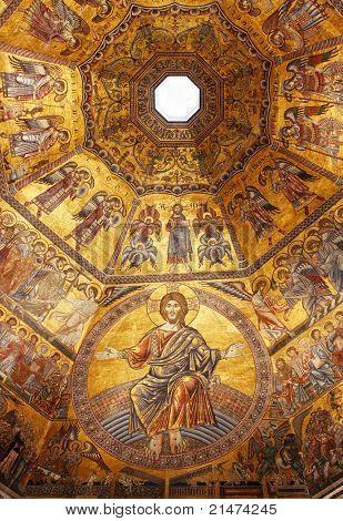 金色的马赛克在意大利佛罗伦萨的圣塔玛丽亚 dei 百花的洗礼