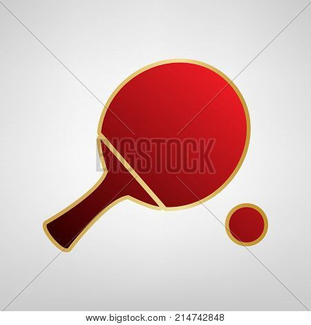 Ping pong paddle with ball. Vector. Red icon on gold sticker at light gray background.