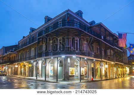 NEW ORLEANS - JUN. 1, 2017: Historic Buildings at the corner of Royal Street and St. Ann Street in French Quarter at night in New Orleans, Louisiana, USA.