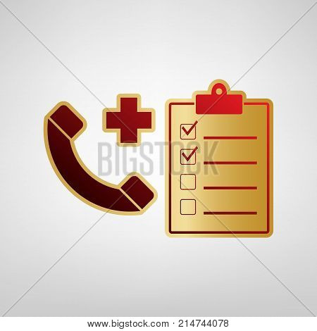 Medical consultation sign. Vector. Red icon on gold sticker at light gray background.