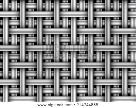 Seamless pattern of braided fiber. Vector striped repeatable background.