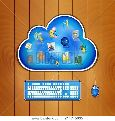 Business management icons at blue cloud on wood table keyboard and mouse plugged in. Cloud business management concept. Vector illustration.