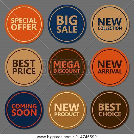 Sale discount sticker set. Commercial collection of varicolored offer labels. Different commercial inscriptions in round badges. Vector isolated illustration.