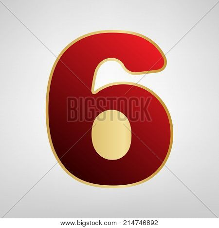 Number 6 sign design template element. Vector. Red icon on gold sticker at light gray background.